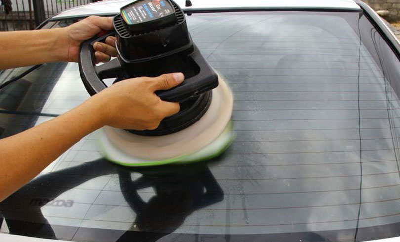 buffing up car glass after installation service