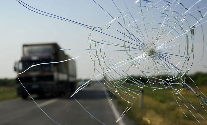 car window cracked on highway